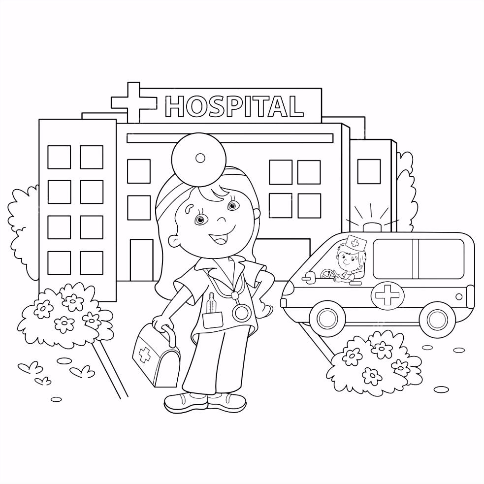 Kleurplaat pagina overzicht van cartoon arts in de buurt van het