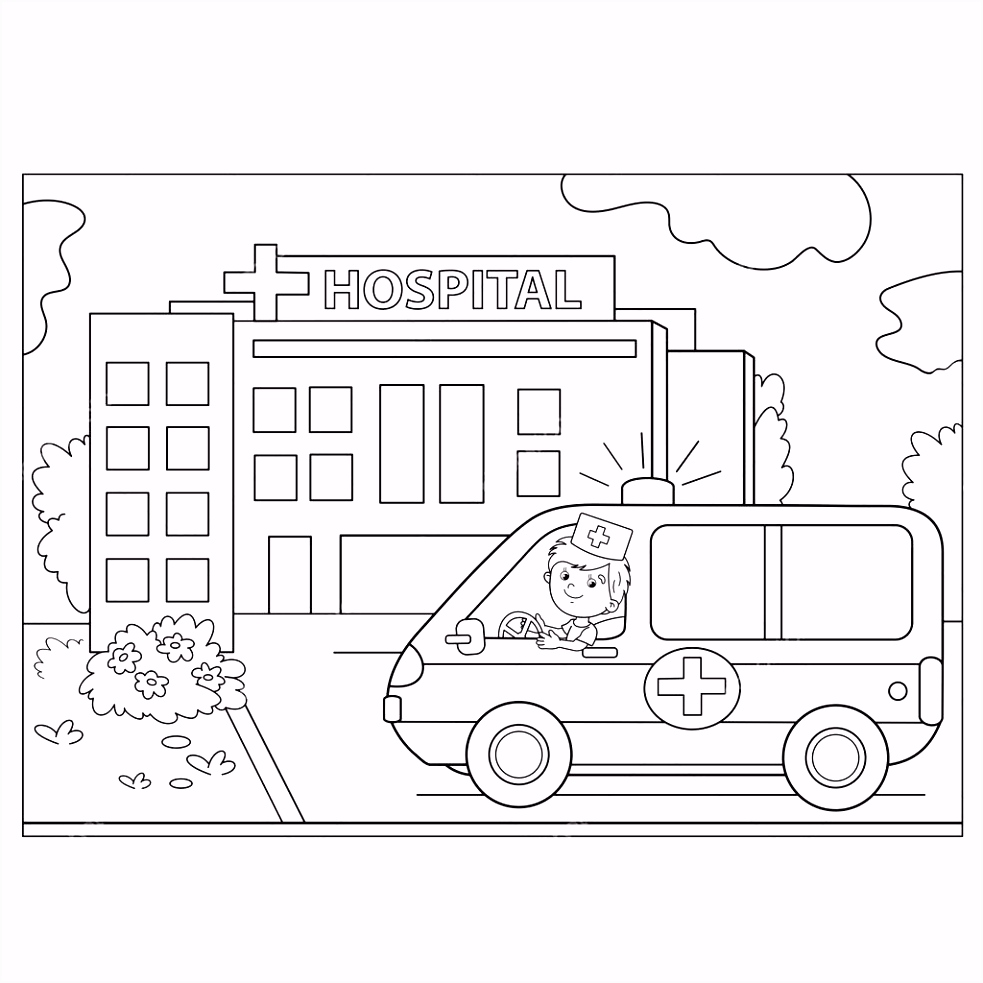 Kleurplaten Ziekenhuis Kleurplaat Pagina Overzicht Van De Auto Van De Ambulance In De Buurt I6id32xqi1 Vmremhnscu