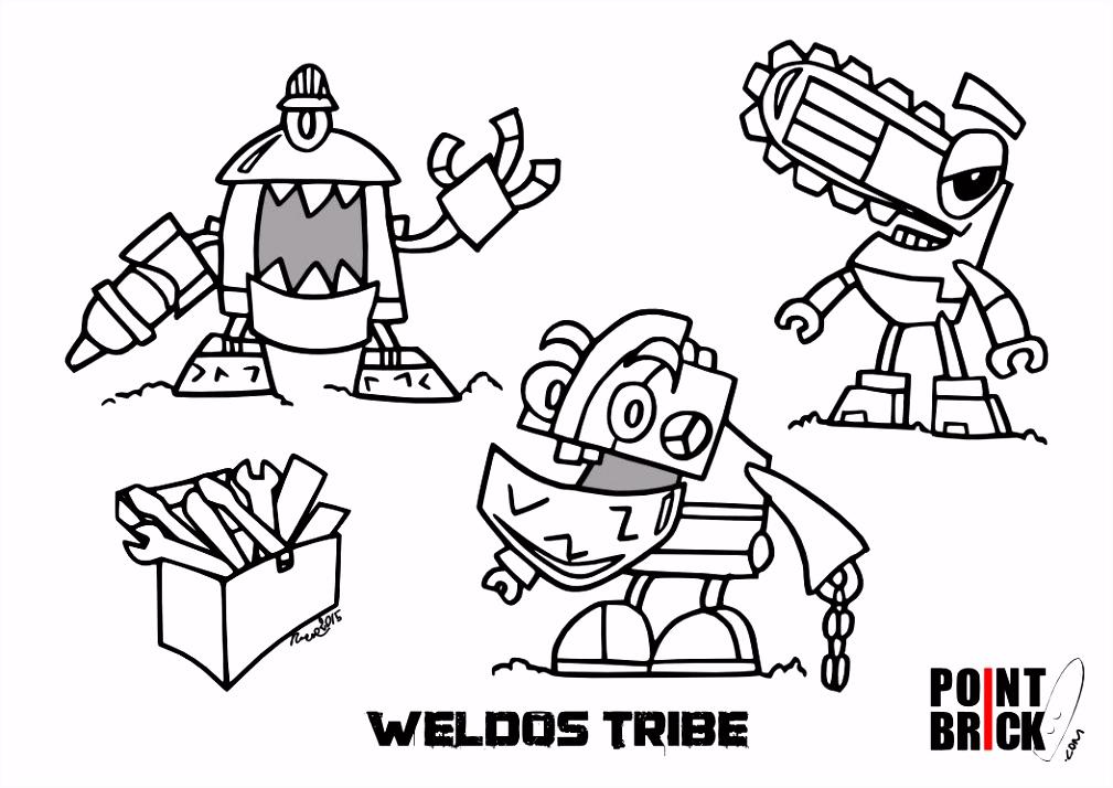 Disegni da colorare LEGO Mixels 6 Weldos e Munchos