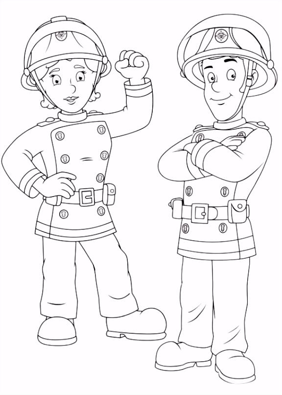 Coloreaza Plansa de colorat pompierul sam si colega lui
