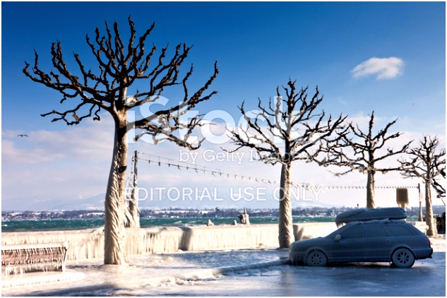 """frozen"" Car AT Lake Geneva Switzerland IN Winter Stock"