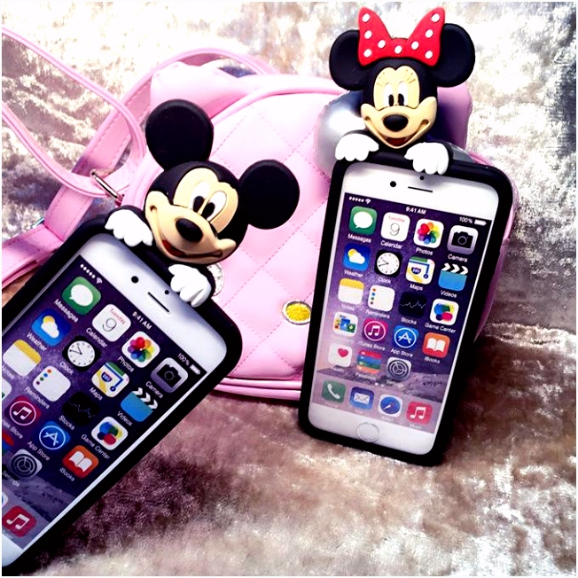 New Creative 3D Cute Cartoon Mickey Minnie Mouse Silicone Rubber