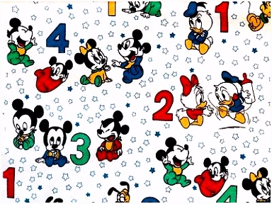 VINTAGE 1984 DISNEY BABIES FABRIC Mickey & Minnie Mouse