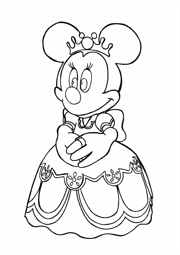 Princess Minnie Mouse Coloring Page Download Print li