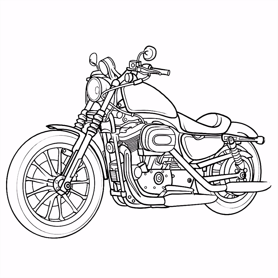 Crossmotor Kleurplaten Eenvoudig Leuk Voor Kids – Motor 0007