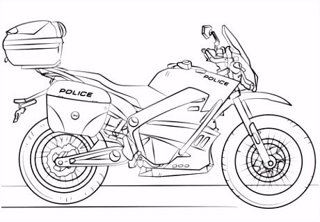 Police Motorcycle kleurplaat