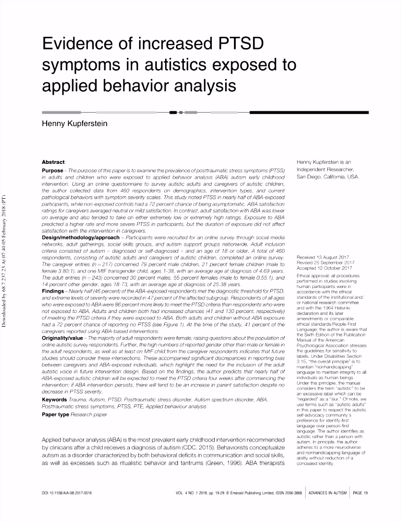 PDF Evidence of increased PTSD symptoms in autistics exposed to