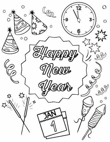 Kleurplaat Happy New Year 2018 Free Happy New Year Coloring Page