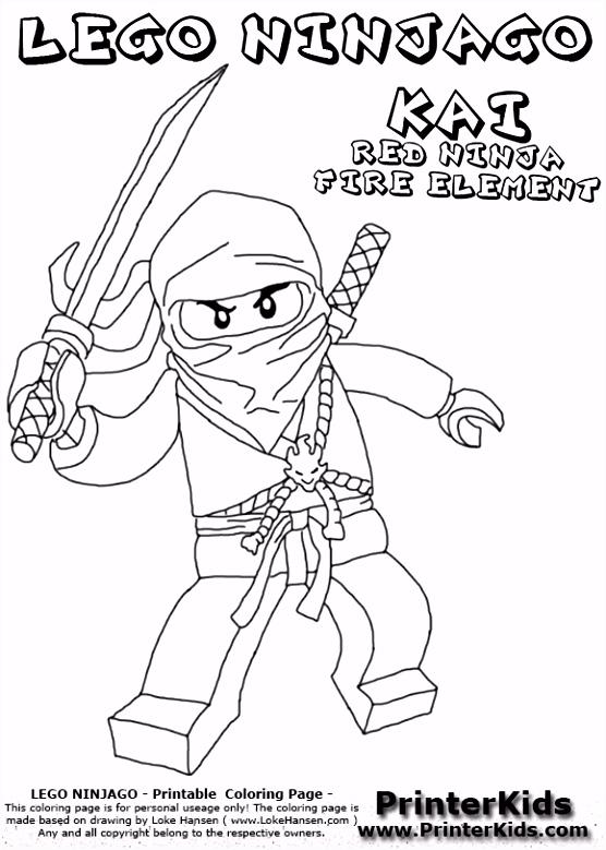 Lego Ninjago Kai With Sword Coloring Page