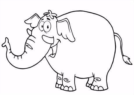 Blij olifant tekening kleurplaat