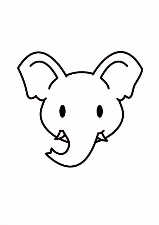 Kleurplaat kop olifant Afb