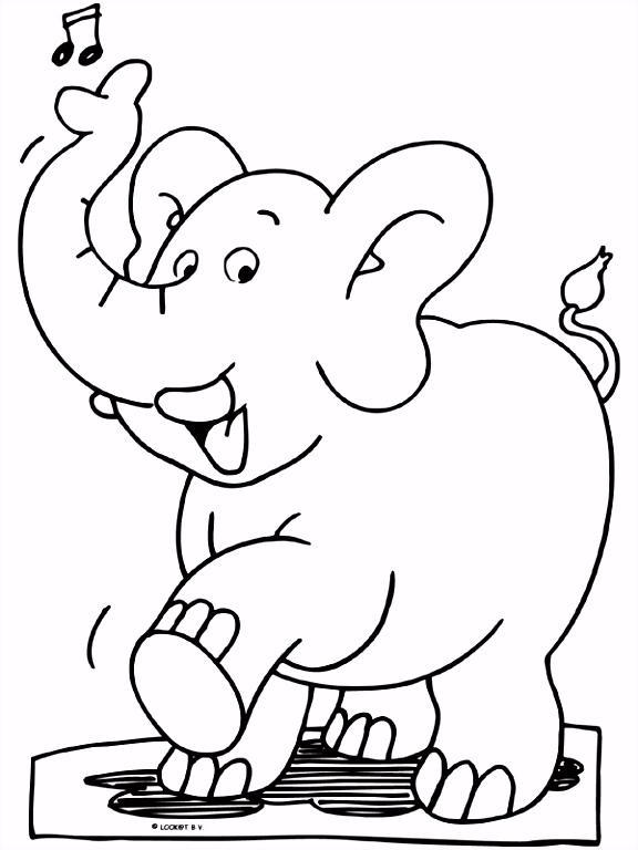 Kleurplaat Vrolijke olifant Kleurplaten