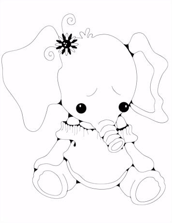 Opgezette meisje olifant kleurplaat