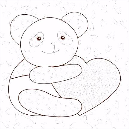 Panda Kleurplaten Panda Met Hart Kind Baby Panda Kleurplaten