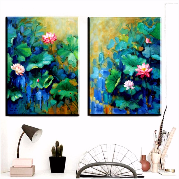 ZZ1280 chinese canvas art beautiful lotus flower canvas pictures oil