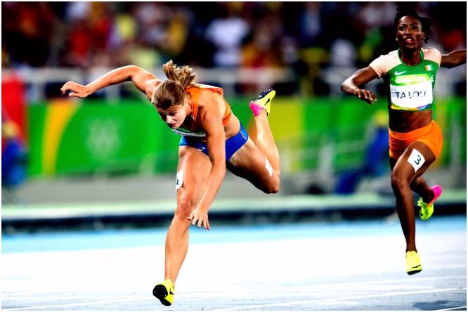Met badmuts op had Dafne Schippers goud gewonnen in Rio