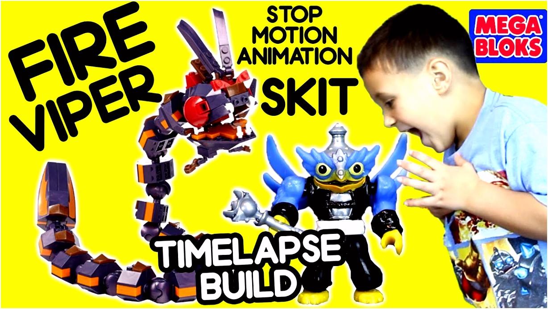 Skylanders MEGA Bloks Fire Viper Attack Timelapse Build & Skit