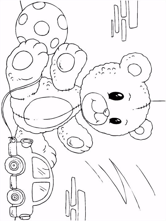 Kleurplaat teddybeer Afb