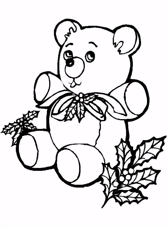Kleurplaat Teddybeer voor de kerst Kleurplaatje