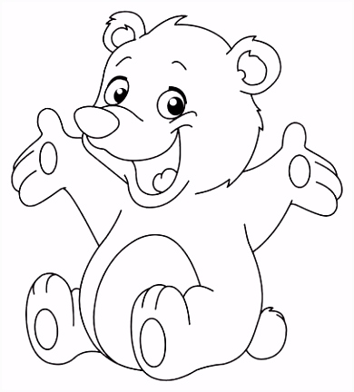 Outlined Happy Teddy Bear Raising His Arms Coloring Page Royalty