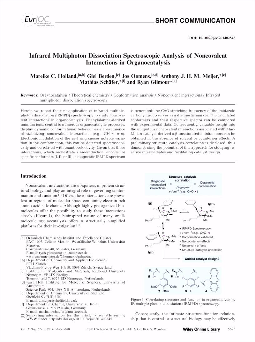 PDF Infrared Multiphoton Dissociation Spectroscopic Analysis of