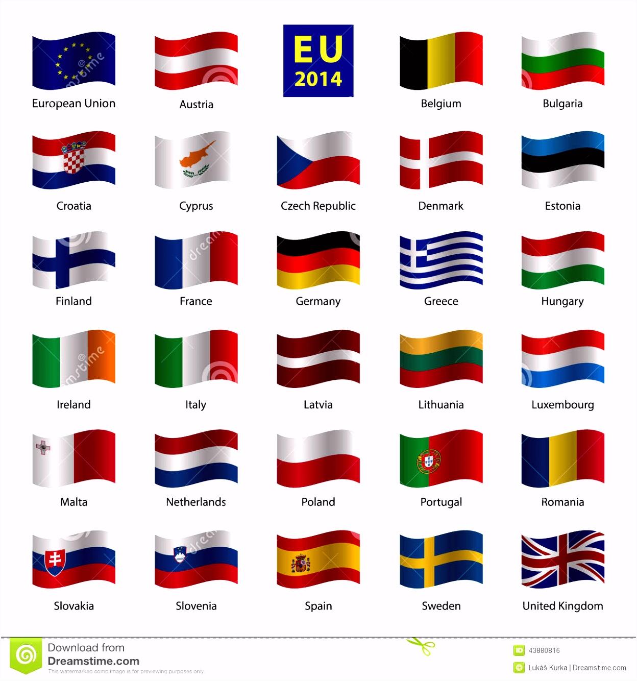 De Vastgestelde Od Europese Unie Vlaggen Van Het Land Vector