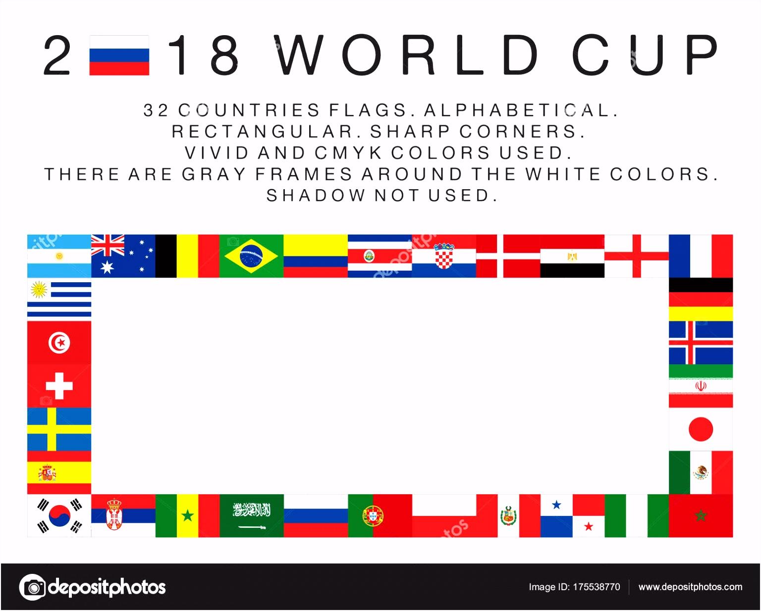 Rechthoekige vlaggen van 2018 WK landen — Stockvector © Emrah Avci