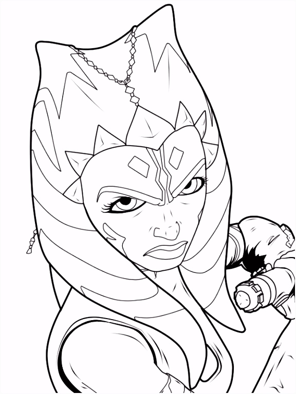 black and white coloring pages star wars ahsoka Google Search
