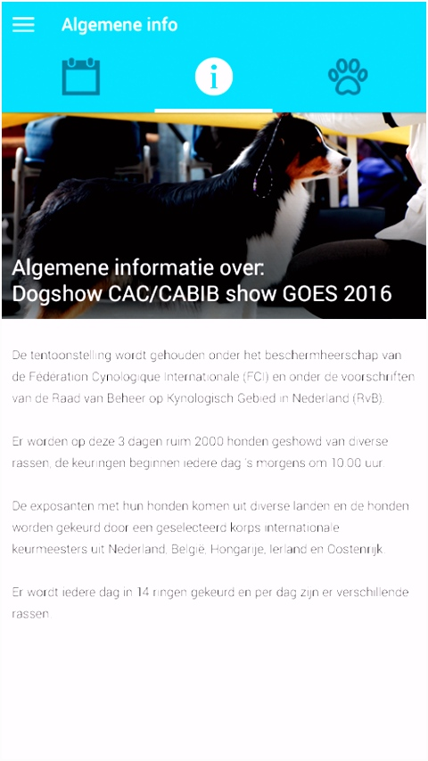 myDogShow app algemene showinfo myDogShow app