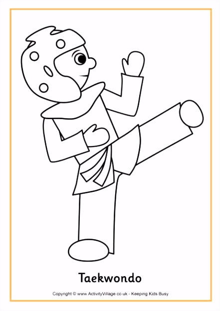 Taekwondo colouring page Sports doing now