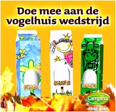 De Campina Vogelhuis knutselwedstrijd Juf Jannie leren met kinderen