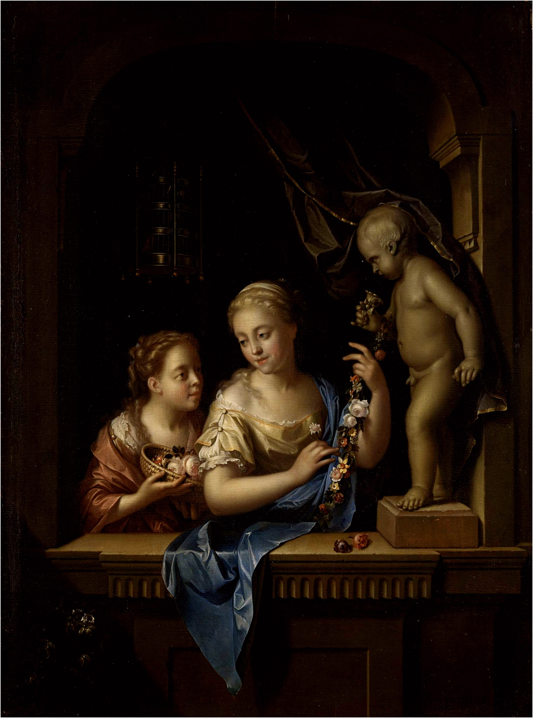 Two Girls with Flowers by a Statue of Cupid Pieter van der Werff