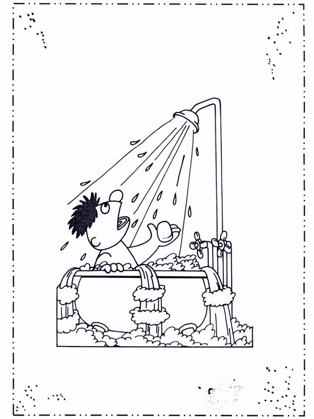 Ernie onder de douche Sesamstraat kleurplaat