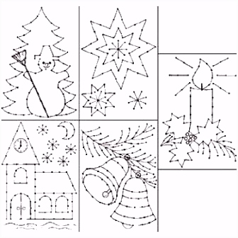 Borduurkaarten Kerst Embroidery on Paper Christmas