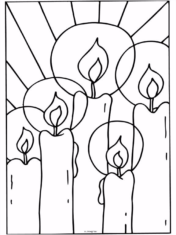 Kleurplaat Kaarsen kerstmis Kleurplaten