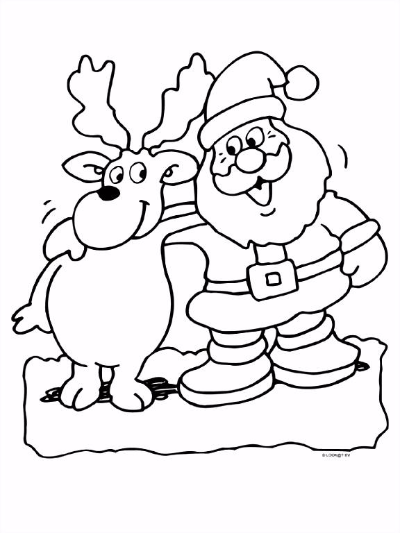 Kleurplaat Kerstman met ren r Kleurplaten