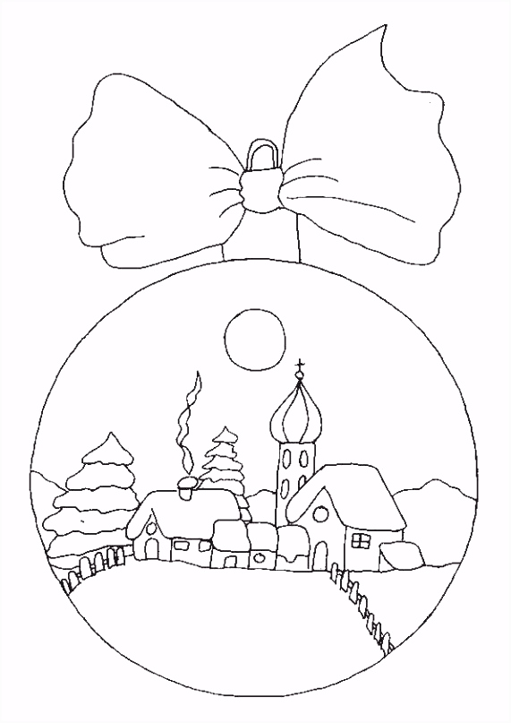 christmas coloring pages Christmas ornament with snow scene for