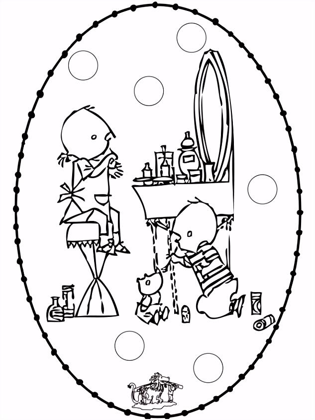 Knutselen Jip en Janneke Stripfiguur borduurkaart knutselen