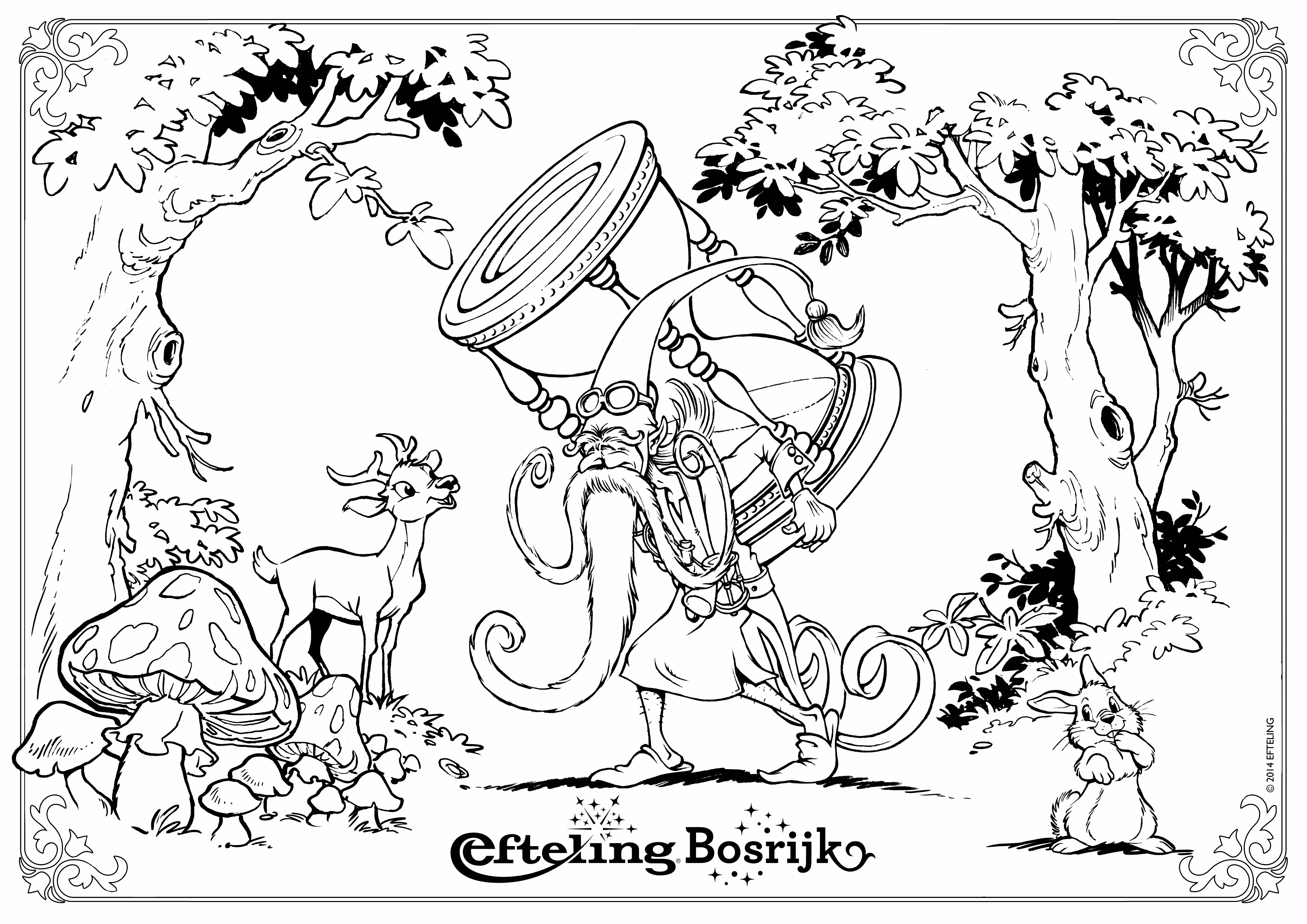 Efteling Bosrijk kleurplaat Klaas Vaak Wood burning