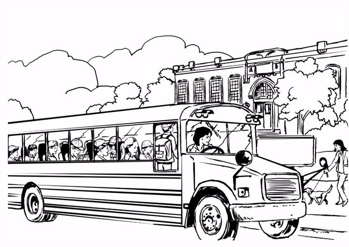 Kleurplaat schoolbus Afb 8053