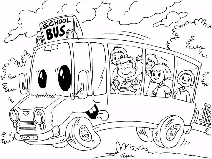 Kleurplaat schoolbus Afb