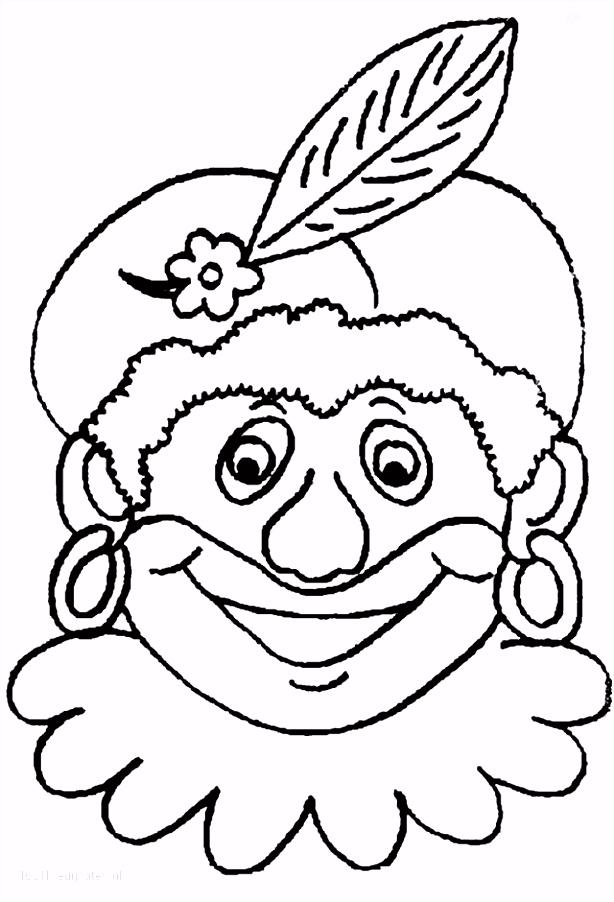 Kleurplaat Masker Zwarte Piet ARCHIDEV