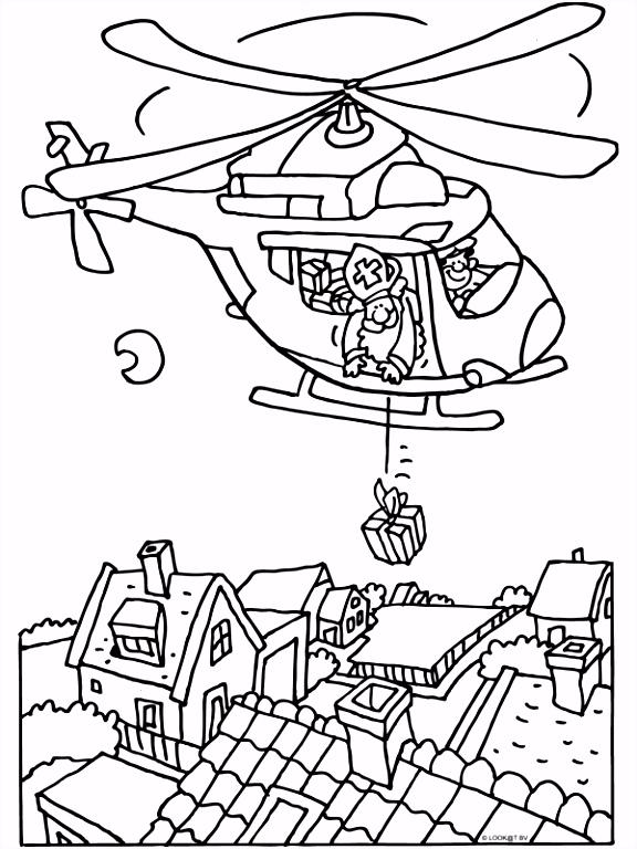 Kleurplaat Sinterklaas met de helikopter Kleurplaten