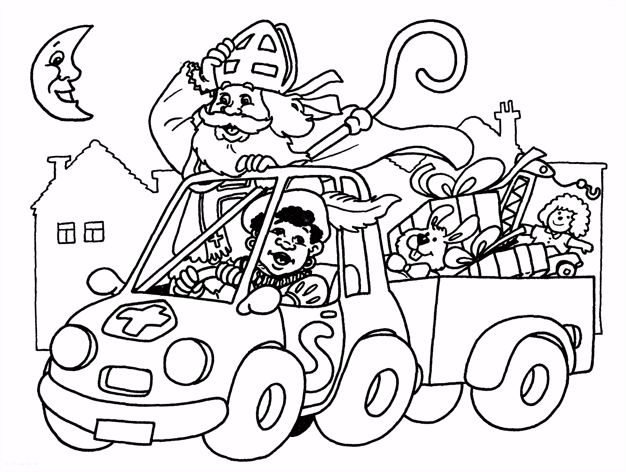 1001 KLEURPLATEN Sinterklaas Sint Sinterklaas in de Auto