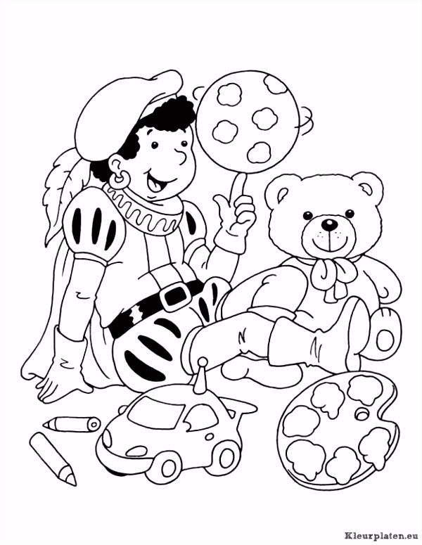 Zwarte piet met teddy beertje en auto kleurplaat