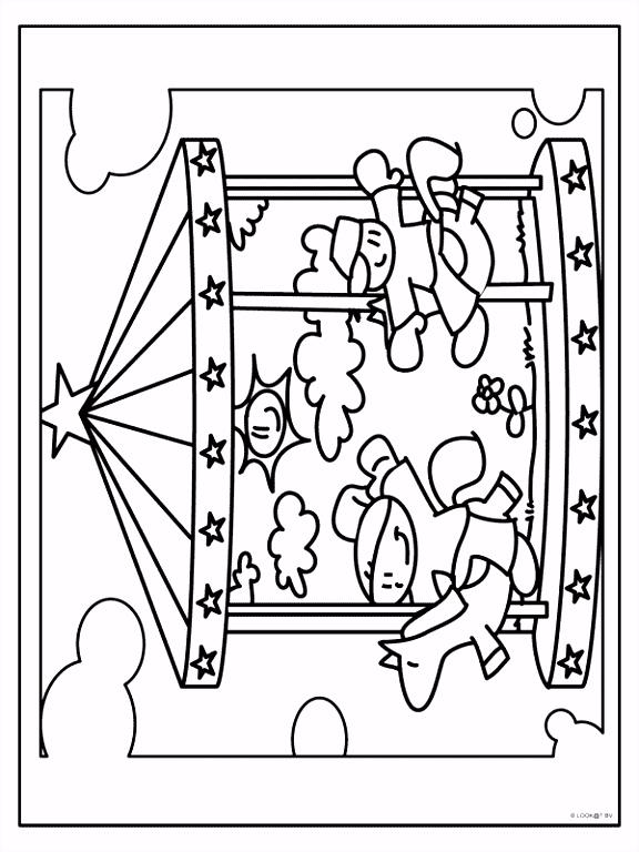 Kleurplaat Draaimolen op de kermis Kleurplaten Kermis