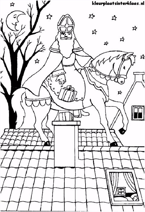 Kleurplaat Sinterklaas Met Paard ARCHIDEV