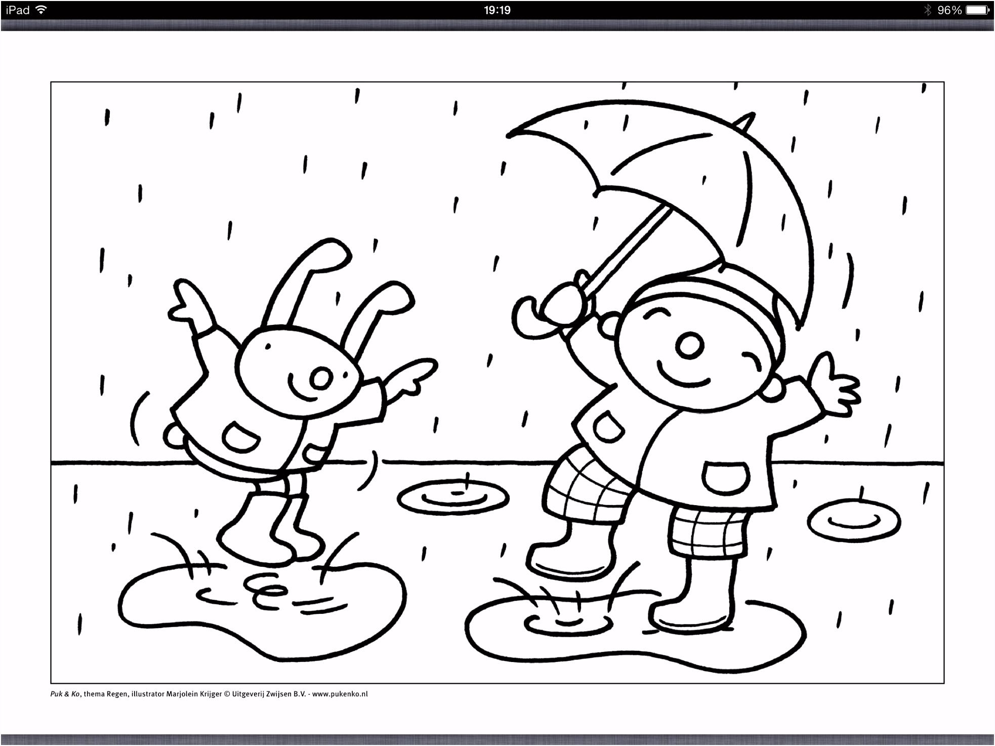Regen – Knutselidee n – Uk&puk Kleurplaat Puk