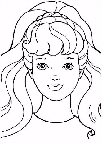 Barbie portret kleurplaat