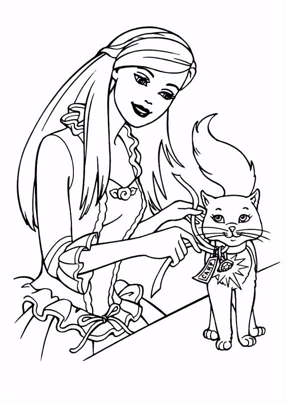 Poes en meisje kleurplaat